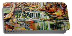 Portable Battery Charger featuring the painting Ceeekbed, Fall Colors 4 by Rae Andrews