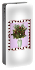 Portable Battery Charger featuring the digital art Celadon Vase With Christmas Bouquet by Lise Winne