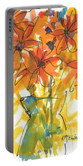 Celebration Of Sunflowers Watercolor Painting By Kmcelwaine Portable Battery Charger