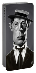 Portable Battery Charger featuring the digital art Celebrity Sunday - Buster Keaton by Rob Snow