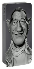 Portable Battery Charger featuring the digital art Celebrity Sunday - John Wayne by Rob Snow