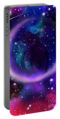 Portable Battery Charger featuring the painting Celestial Crescent Moon Cat  by Nick Gustafson