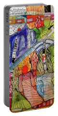 Portable Battery Charger featuring the mixed media Celestial Windows by Mimulux patricia no No