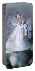 Portable Battery Charger featuring the painting Celestine Snow Fairy by Nancy Lee Moran