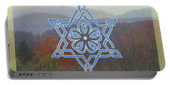 Celtic Hexagram Rose In Blue Portable Battery Charger