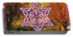 Celtic Hexagram Rose In Lavandar Portable Battery Charger