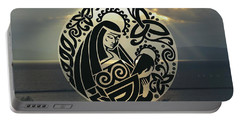 Celtic Madonna Over Sunset Portable Battery Charger