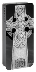 Celtic Stone Cross At Sunset Portable Battery Charger by Gary Whitton