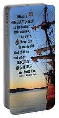 Celtic Tall Ship - El Galeon In Halifax Harbour At Sunrise Portable Battery Charger