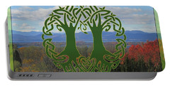 Celtic Wedding Tree In Green Portable Battery Charger