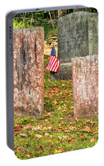 Portable Battery Charger featuring the photograph Cemetery Flag by Tom Singleton