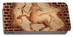 Centaur Hunting Original Coffee Painting Portable Battery Charger by Georgeta Blanaru