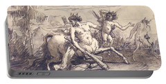 Centaur With A Club, And Two Satyrs Portable Battery Charger