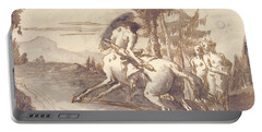 Centaur With Shield And Two Satyresses Portable Battery Charger