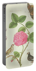Centifolia Rose, Lavender, Tortoiseshell Butterfly, Goldfinch And Crested Pigeon Portable Battery Charger by Nicolas Robert