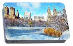Portable Battery Charger featuring the digital art Central Park In Winter by Kai Saarto