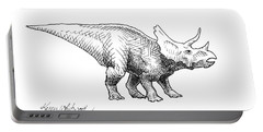 Cera The Triceratops - Dinosaur Ink Drawing Portable Battery Charger by Karen Whitworth