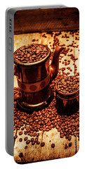 Ceramic Coffee Pot And Mug Overflowing With Beans Portable Battery Charger