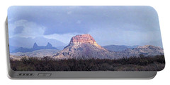 Portable Battery Charger featuring the painting Cerro Castellan And Mule Ears  by Dennis Ciscel