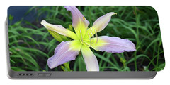 Portable Battery Charger featuring the digital art Cerulean Star Daylily  by Eva Kaufman