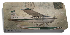 Cessna Skywagon 185 On Vintage Postcard Portable Battery Charger by Nina Silver