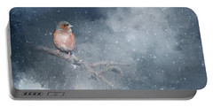 Chaffinch On A Cold Winter Day Portable Battery Charger