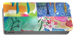 Chai Collage- Contemporary Jewish Art By Linda Woods Portable Battery Charger