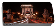 Portable Battery Charger featuring the photograph Chain Bridge At Midnight by Jaroslaw Blaminsky