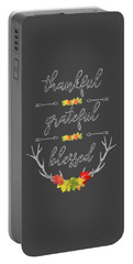 Portable Battery Charger featuring the digital art Chalkboard Handwriting Thankful Grateful Blessed Fall Thanksgiving by Georgeta Blanaru