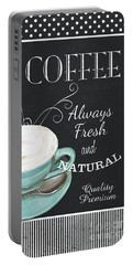 Portable Battery Charger featuring the painting Chalkboard Retro Coffee Shop 1 by Debbie DeWitt