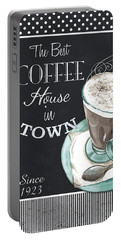 Portable Battery Charger featuring the painting Chalkboard Retro Coffee Shop 2 by Debbie DeWitt