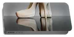 Portable Battery Charger featuring the photograph Champagne Stiletto Shoes by Terri Waters