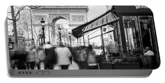 Portable Battery Charger featuring the photograph Champs Elysees And Arc Triomphe - Paris by Barry O Carroll