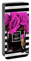 Chanel Noir Perfume With Flowers Portable Battery Charger