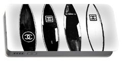 Chanel Surfboard  Black And White Portable Battery Charger