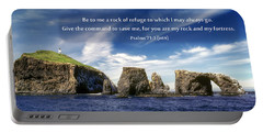 Channel Island National Park - Anacapa Island Arch With Bible Verse Portable Battery Charger