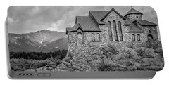 Chapel On The Rock - Black And White Portable Battery Charger