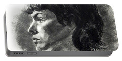 Charcoal Portrait Of A Pensive Young Woman In Profile Portable Battery Charger