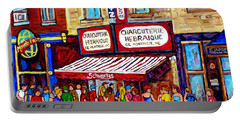 Charcuterie Hebraique Schwartz Line Up Waiting For Smoked Meat Montreal Paintings Carole Spandau     Portable Battery Charger