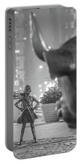 Charging Bull And Fearless Girl Nyc  Portable Battery Charger