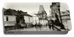 Portable Battery Charger featuring the photograph Charles Bridge. Black And White. Impressionism by Jenny Rainbow