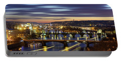 Charles Bridge During Sunset With Several Boats, Prague, Czech Republic Portable Battery Charger
