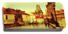 Portable Battery Charger featuring the photograph Charles Bridge. Golden Prague. Impressionism by Jenny Rainbow