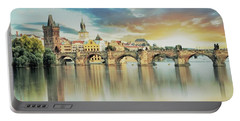 Portable Battery Charger featuring the painting Charles Bridge by Maciek Froncisz