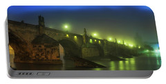 Charles Bridge Night In Prague, Czech Republic Portable Battery Charger