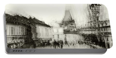 Portable Battery Charger featuring the photograph Charles Bridge Promenade. Black And White. Impressionism by Jenny Rainbow
