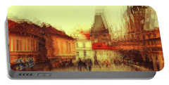 Portable Battery Charger featuring the photograph Charles Bridge Promenade. Golden Prague. Impressionism by Jenny Rainbow