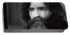 Charles Manson Screen Capture Circa 1970-2015 Portable Battery Charger