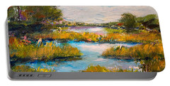 Portable Battery Charger featuring the painting Charleston City Limits by Alan Lakin