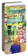 Portable Battery Charger featuring the painting Charleston South Carolina Single House by Carlin Blahnik CarlinArtWatercolor